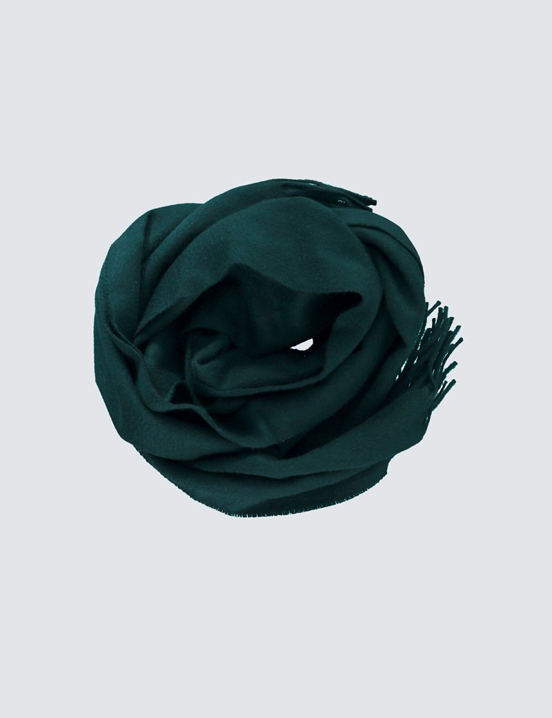 Plain Green 100% Cashmere Woven Scarf
