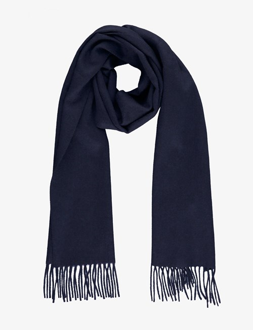 Plain Navy 100% Cashmere Woven Scarf