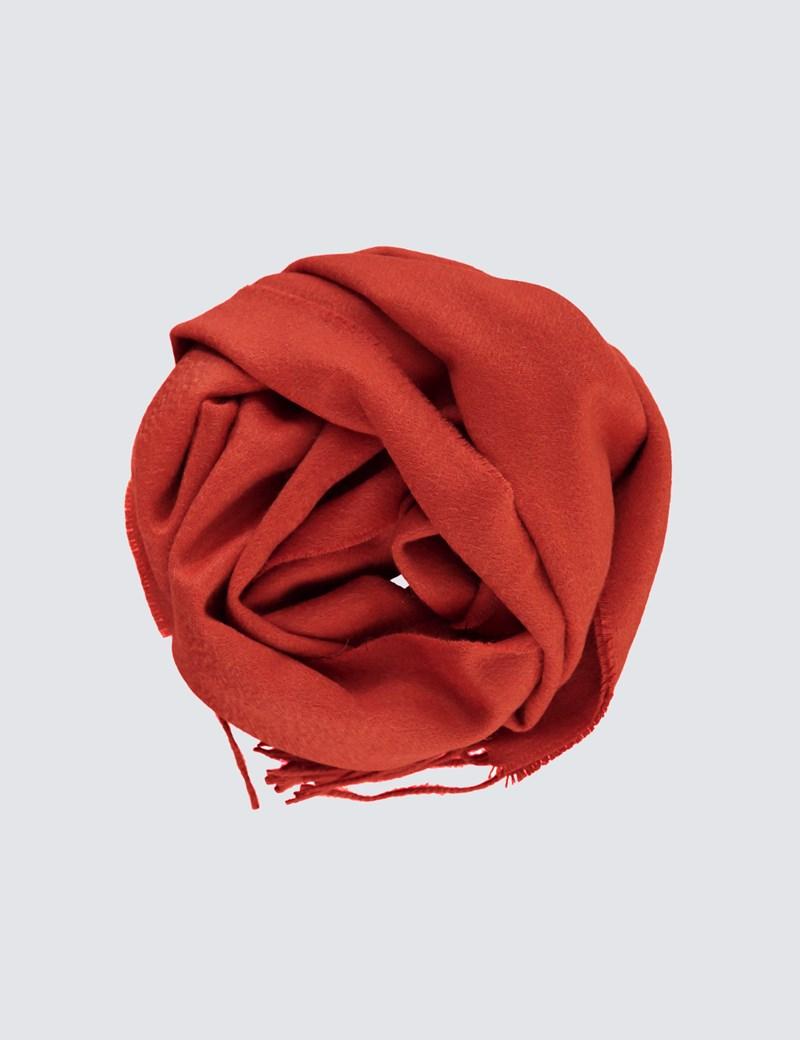 Plain Orange 100% Cashmere Woven Scarf