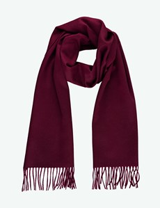 Plain Burgundy 100% Cashmere Woven Scarf