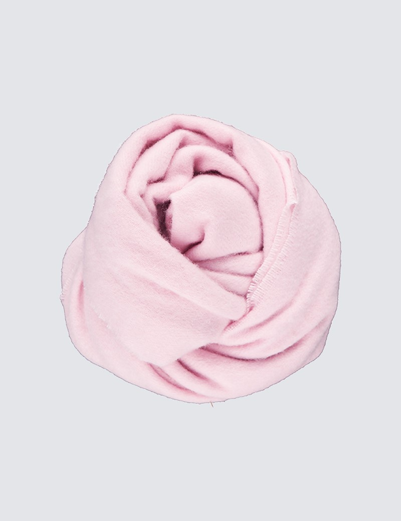 Pink Plain Cashmere & Wool Mix Scarf