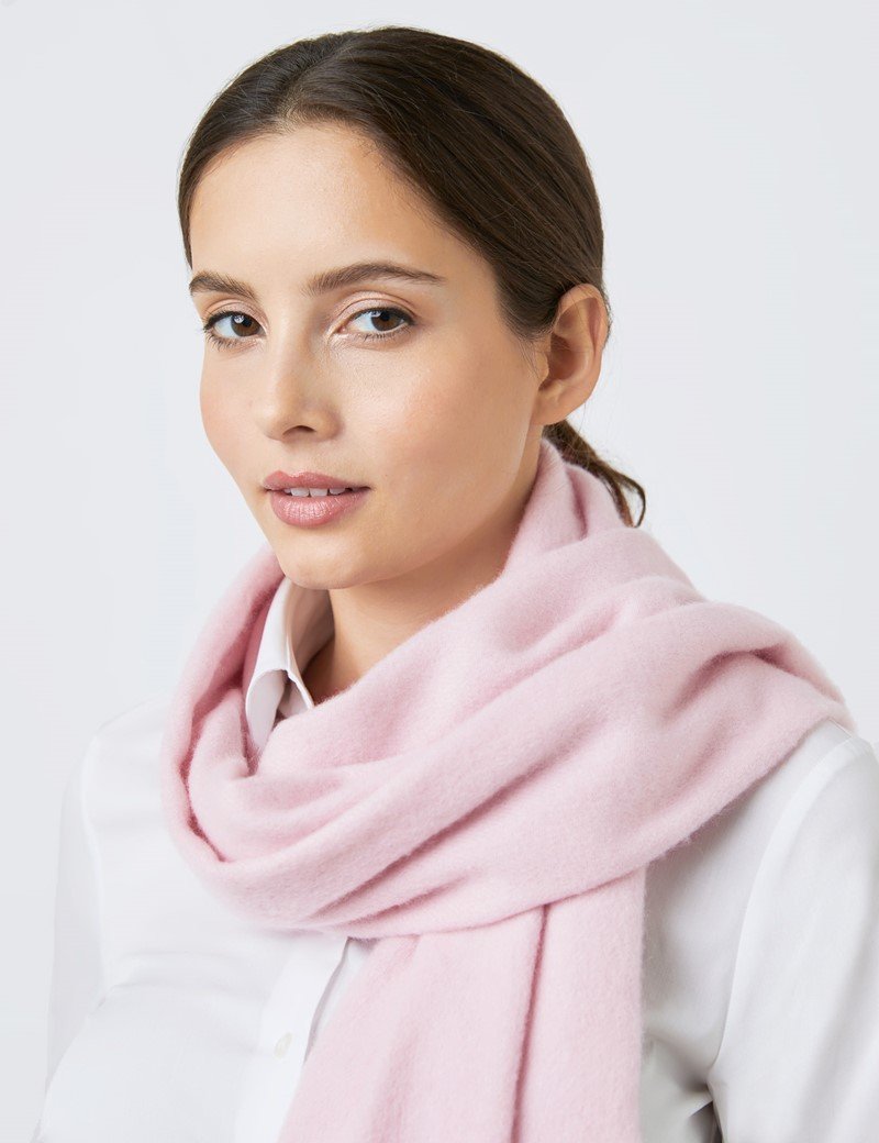 Pink Plain Cashmere & Wool Mix Scarf