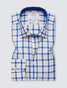 Easy Iron Blue & Yellow Multi Check Slim Fit Shirt With Contrast Detail