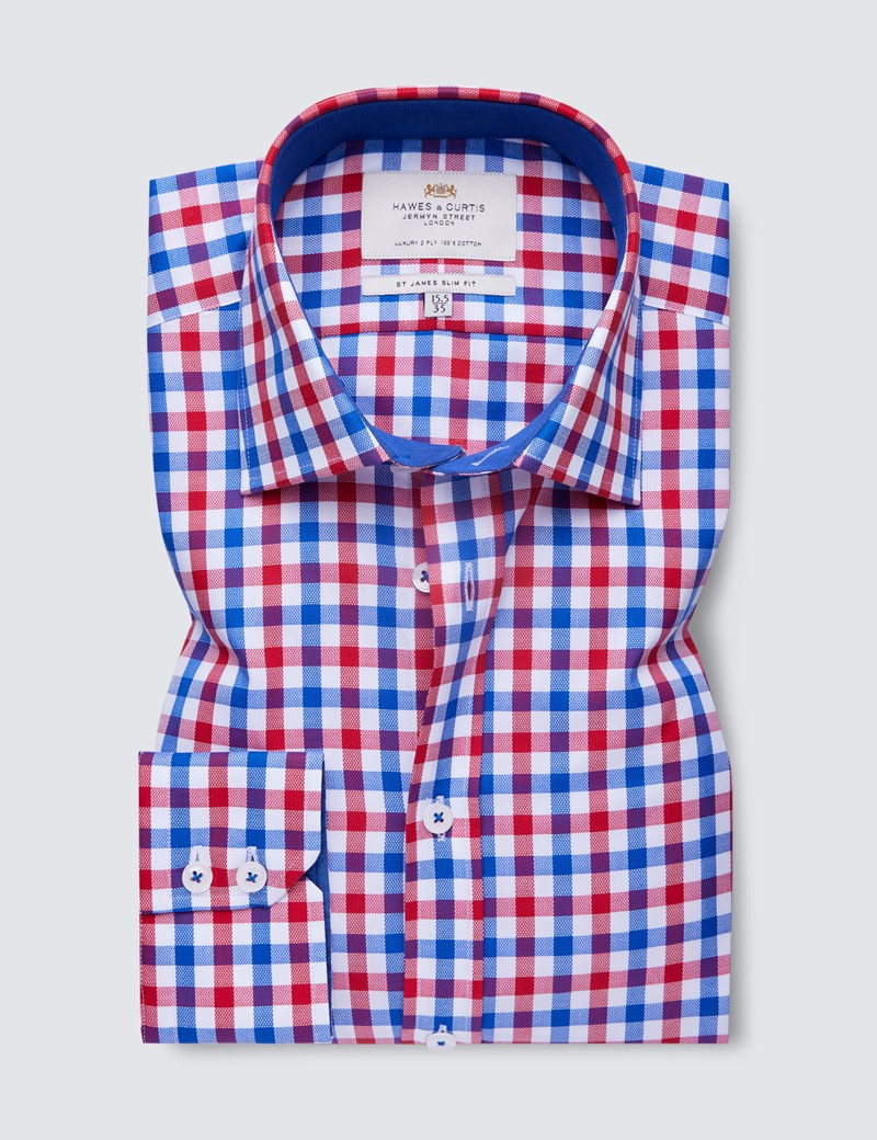 Easy Iron Red & Blue Multi Check Slim Fit Shirt With Contrast Detail