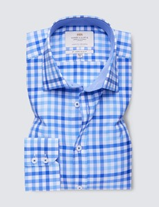 Easy Iron Blue & Royal Multi Check Slim Fit Shirt With Contrast Detail