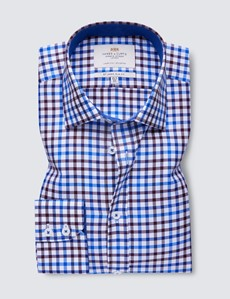 Easy Iron Brown & Blue Multi Check Slim Fit Shirt With Contrast Detail