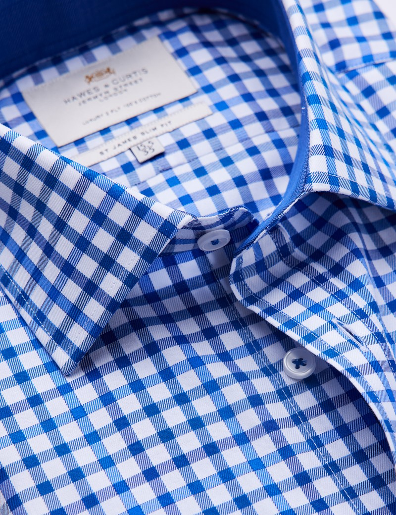 Easy Iron Navy & Blue Multi Check Slim Fit Shirt With Contrast Detail