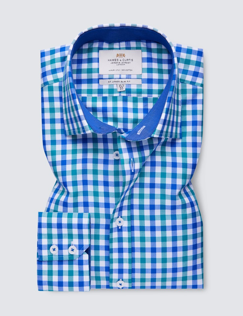 Easy Iron Blue & Green Multi Check Slim Fit Shirt With Contrast Detail