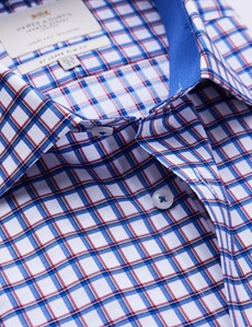 Easy Iron Red & Navy Multi Check Slim Fit Shirt With Contrast Detail