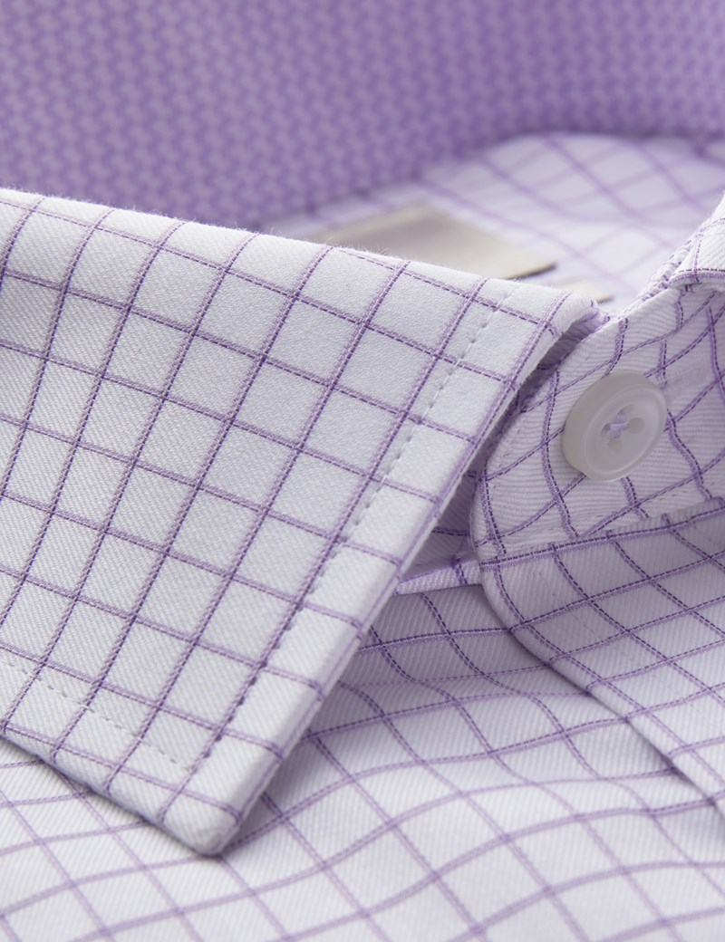 Men's Business Lilac & White Grid Check Slim Fit Shirt - Single Cuff - Easy Iron