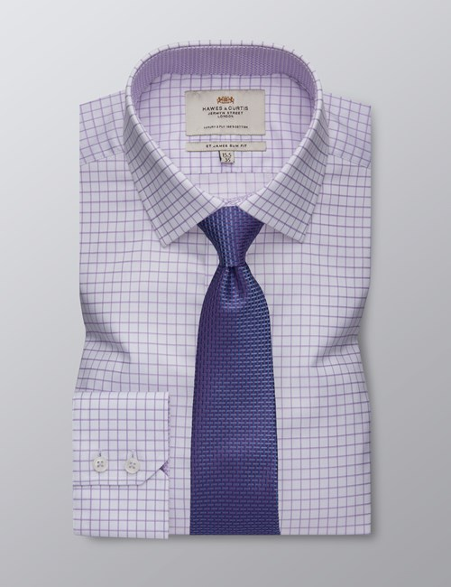 Men's Formal Lilac & White Grid Check Slim Fit Shirt - Single Cuff - Easy Iron