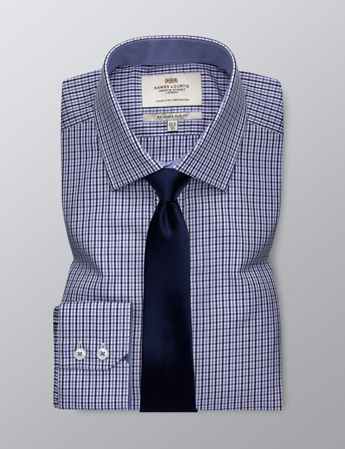Men's Formal Blue & Navy Multi Check Slim Fit Shirt - Single Cuff - Easy Iron