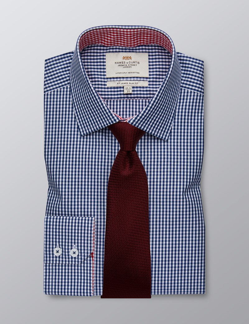 Men's Dress Navy & White Gingham Plaid Slim Fit Shirt With Contrast Detail - Single Cuff - Easy Iron