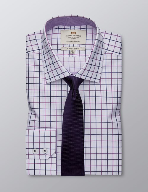 Men's Formal Purple & Navy Check Slim Fit Shirt With Contrast Detail - Single Cuff - Easy Iron