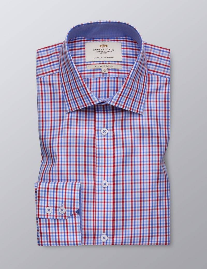 Men's Formal Red & Blue Multi Check Slim Fit Shirt - Single Cuff - Easy Iron