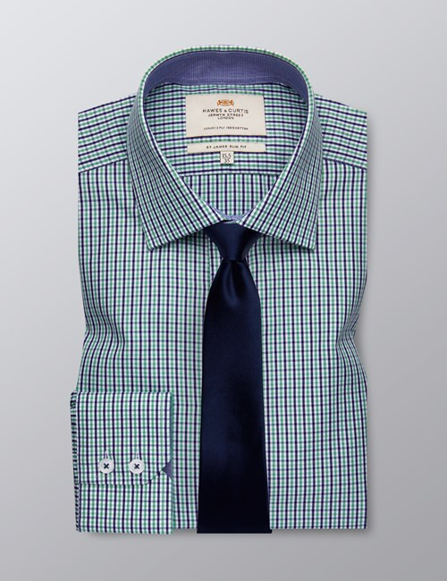 Men's Formal Green & Navy Multi Check Slim Fit Shirt - Single Cuff - Easy Iron
