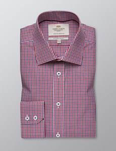 Men's Dress Navy & Red Multi Plaid Slim Fit Shirt - Single Cuff - Easy Iron