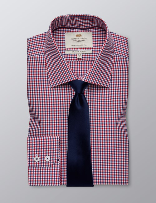 Men's Formal Navy & Red Multi Check Slim Fit Shirt - Single Cuff - Easy Iron