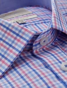 Men's Formal Pink & Blue Multi Check Slim Fit Shirt - Single Cuff - Easy Iron