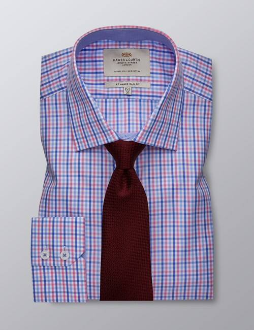 Men's Formal Pink & Blue Multi Check Slim Fit Shirt - Single Cuff - Easy Iron