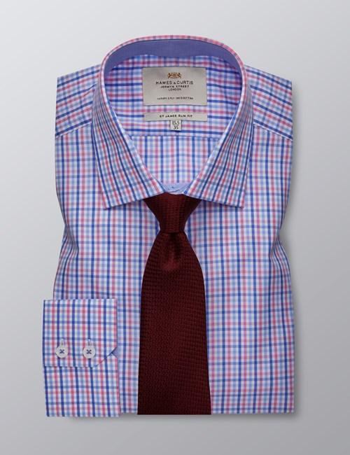 Businesshemd – Slim Fit – Kentkragen – Gittervariationen blau & rot