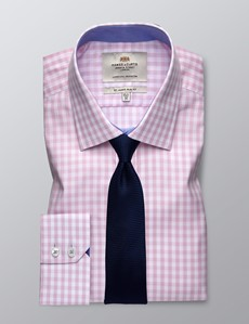 Men's Business Pink & White Large Gingham Check Slim Fit Shirt - Single Cuff - Easy Iron