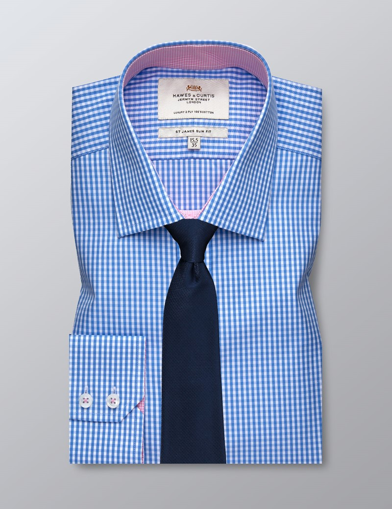 Men's Business Blue & White Gingham Check Slim Fit Shirt - Single Cuff - Easy Iron