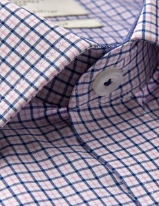 Men's Formal Pink & Navy Multi Check Slim Fit Shirt - Single Cuff - Easy Iron
