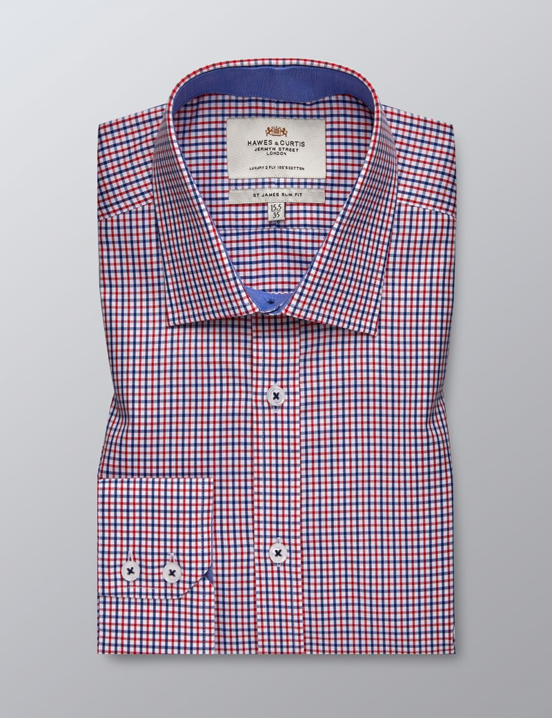 Men's Formal Red & Navy Multi Check Slim Fit Shirt - Single Cuff - Easy Iron