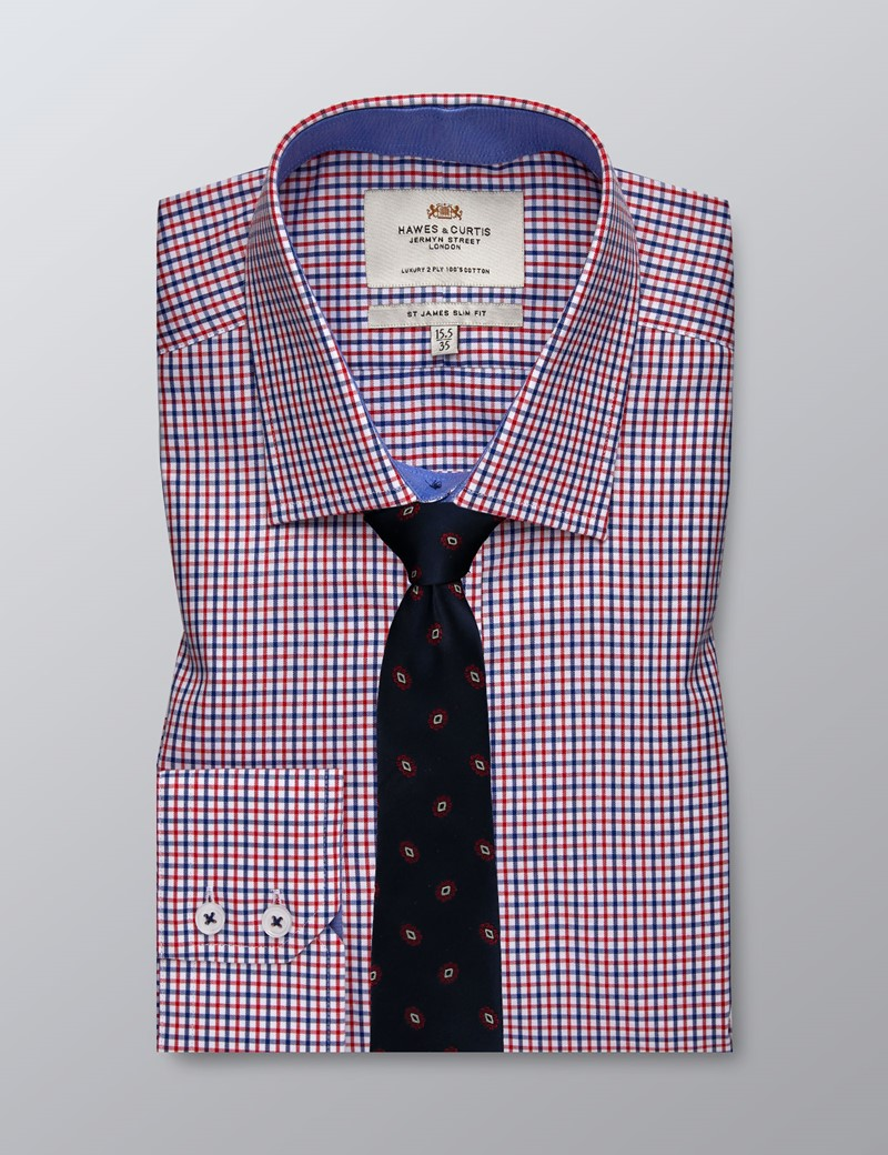 Bügelleichtes Businesshemd – Slim Fit – Kentkragen – rot-blau Gingham-Karo
