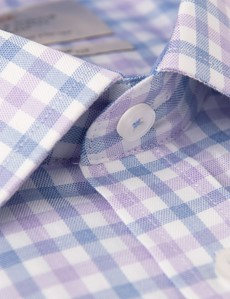 Men's Dress Purple & Blue Multi Plaid Slim Fit Shirt - Single Cuff
