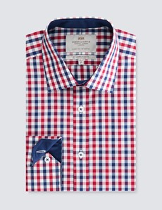 Men's Red & Navy Multi Plaid Slim Fit Dress Shirt - Single Cuff