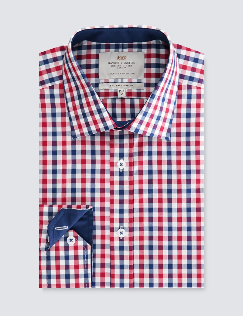 Men's Formal Red & Navy Multi Check Slim Fit Shirt - Single Cuff