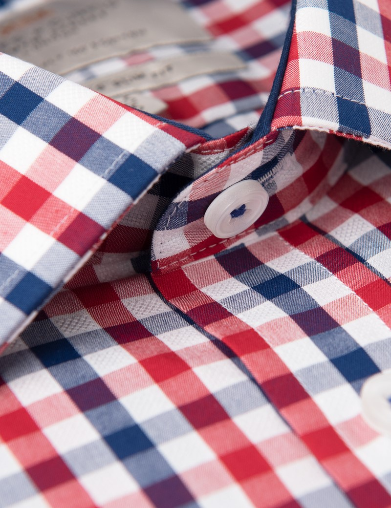 Men's Business Red & Navy Multi Check Slim Fit Shirt - Single Cuff
