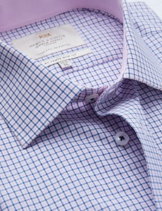 Easy Iron Blue & Pink Multi Check Slim Fit Shirt With Contrast Detail
