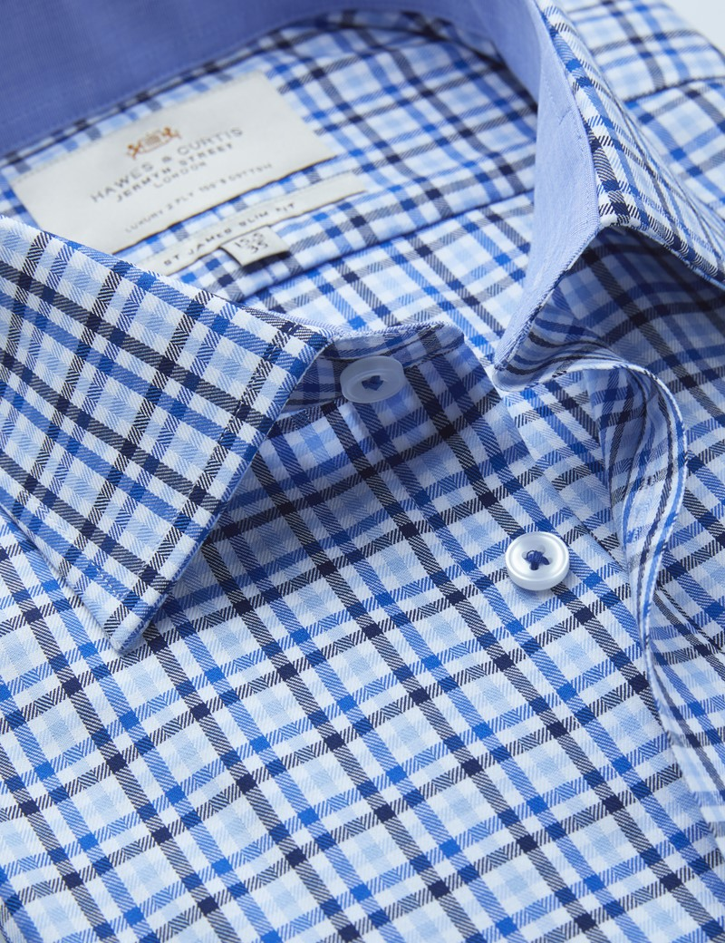 Easy Iron Blue & Navy Multi Check Slim Fit Shirt With Contrast Detail