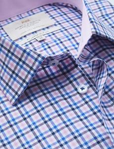Bügelleichtes Businesshemd – Slim Fit – Kentkragen – pink blau Gitterkaro