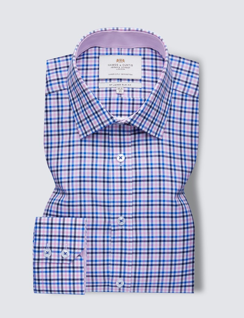 Easy Iron Pink & Blue Multi Check Slim Fit Shirt With Contrast Detail