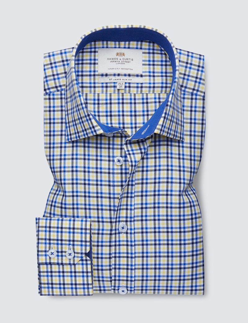 Easy Iron Yellow & Navy Multi Check Slim Fit Shirt With Contrast Detail