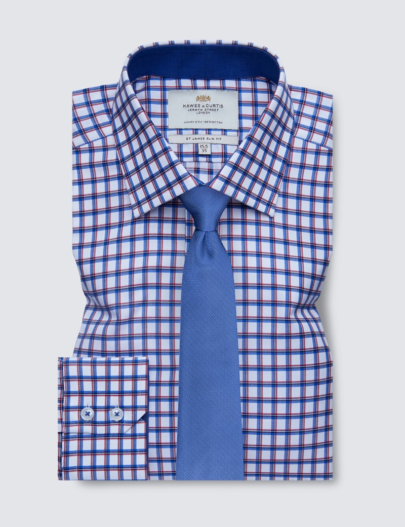 Easy Iron Blue & Red Multi Check Slim Fit Shirt With Contrast Detail