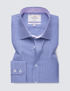 Men's Business Navy & White Dogstooth Slim Fit Shirt with Contrast Detail - Single Cuff - Non Iron