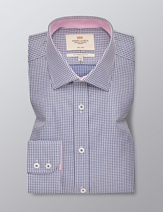 Men's Formal Navy & White Small Gingham Check Slim Fit Shirt - Single Cuff - Non Iron