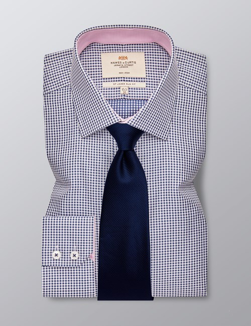 Men's Business Navy & White Small Gingham Check Slim Fit Shirt - Single Cuff - Non Iron