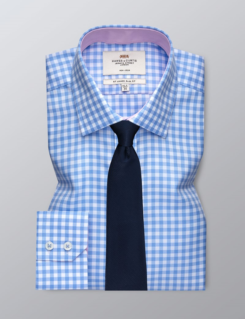 Men's Formal Blue & White Large Gingham Check Slim Fit Shirt - Single Cuff - Non Iron