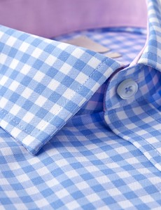 Men's Business Blue & White Large Gingham Check Slim Fit Shirt - Single Cuff - Non Iron