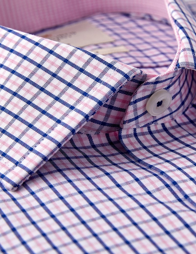 Men's Formal Navy & Pink Multi Check Slim Fit Shirt - Single Cuff - Non Iron