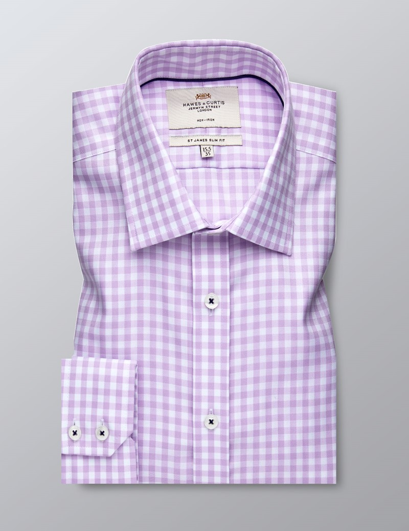 Men's Business Lilac & White Gingham Check Slim Fit Shirt - Single Cuff - Non Iron