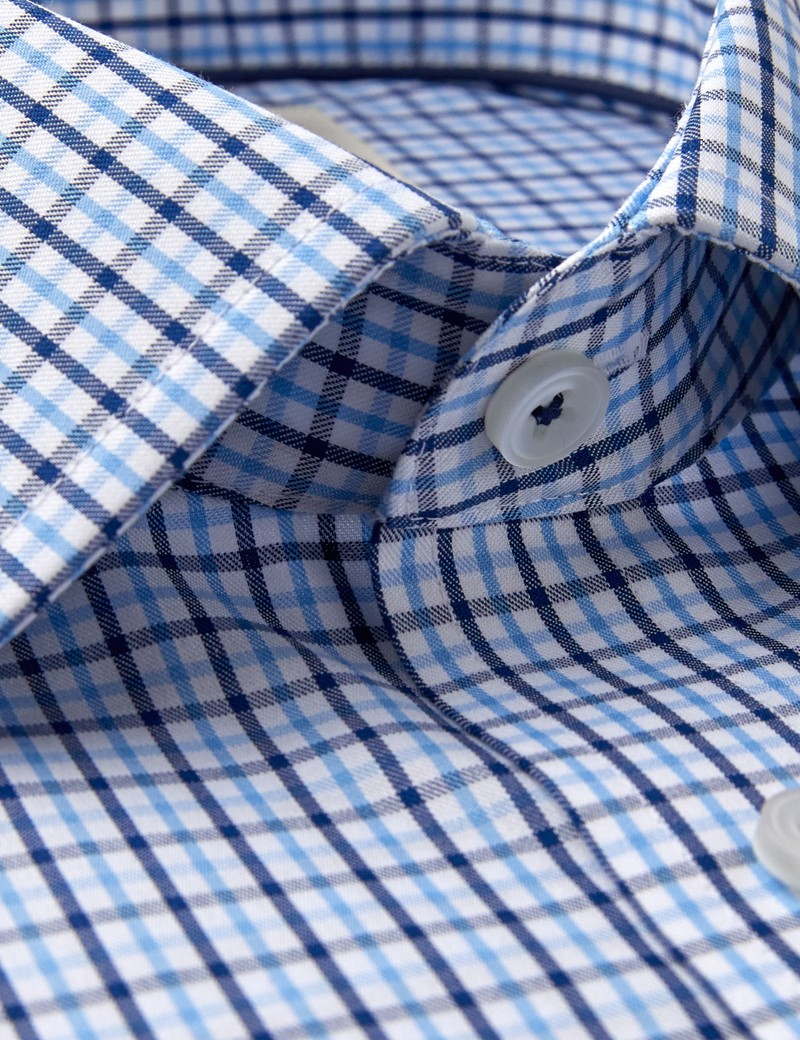 Men's Dress Blue & Navy Multi Plaid Slim Fit Shirt - Single Cuff - Non Iron