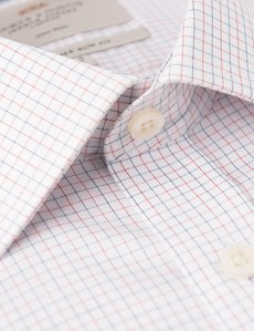 Men's Business Red & Navy Multi Check Slim Fit Shirt - Single Cuff - Non Iron
