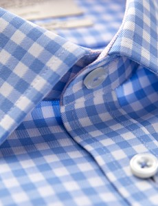 Men's Formal Blue & White Gingham Check Slim Fit Shirt - Single Cuff - Non Iron